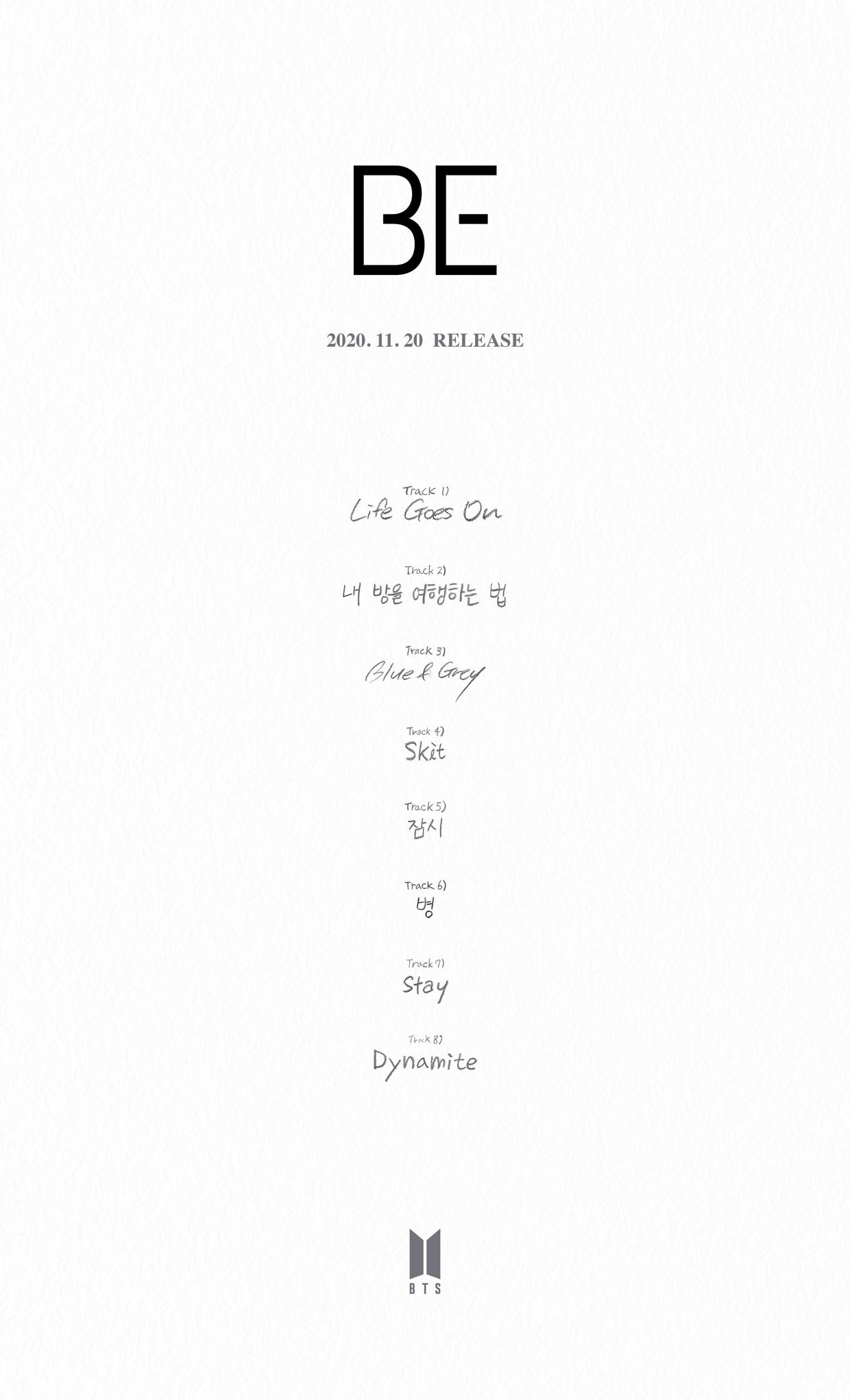 BTS 'BE' Album Tracklist